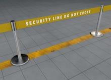 Linje för flygplatssäkerhet, passageraretrafikledning Matande linjer Blodstockningavvikelser Tullkontroller Vägledd bana royaltyfri illustrationer