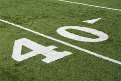 Linje för gård 40 på fält för amerikansk fotboll Royaltyfri Bild