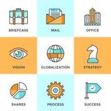 Linje för global affär symbolsuppsättning vektor illustrationer