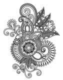 linje för hand för blomma för konstdesigndraw traditionell ukrainare för utsmyckad stil Arkivfoto