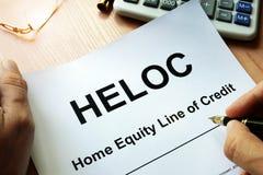 Linje för hem- rättvisa för dokument HELOC av kreditering Arkivbild