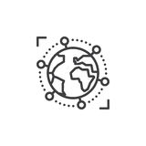 Linje för internationell global affär symbol, översiktsvektortecken, linjär pictogram som isoleras på vit vektor illustrationer