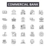 Linje för kommersiell bank symboler, tecken, vektoruppsättning, linjärt begrepp, översiktsillustration royaltyfri illustrationer