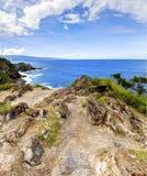 Linje för kust för öMaui klippa med hav. Hawaii. Arkivbilder