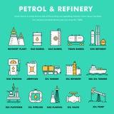 Linje för kvarter för modern bensinbransch tunn lägenhetfärgsymboler och komp Royaltyfria Bilder