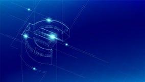 Linje för partikel för symbol för europeiskt euro för valuta som EUR isometrisk tänder futuristisk modellwireframe, Digital penga royaltyfri illustrationer