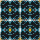 Linje för ram för blått för kors för kurva för modell för keramisk tegelplatta oval färgrikt D stock illustrationer
