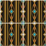 Linje för ram för ovalt kors för kurva för modell för keramisk tegelplatta guld- färgrikt D stock illustrationer