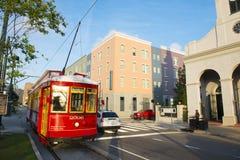Linje för RTA-spårvagnvall i New Orleans Arkivfoto
