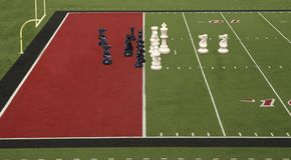 linje för schackfotbollmål red Arkivfoton