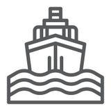 Linje för yachtfartygtur symbol, resa och kryssning, skepptecken, vektordiagram, en linjär modell på en vit bakgrund stock illustrationer
