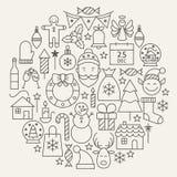 Linje format fastställt cirkulär för ferie för nytt år för jul för symboler stock illustrationer