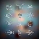 Linje formgeometri Alkemi religion, filosofi, spiritualit stock illustrationer