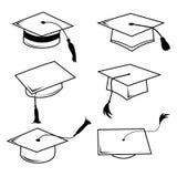Linje för lyckönskanhattavläggande av examen symbolsvektor Arkivbilder