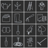 Linje Grey Icons Gardening Equipment stock illustrationer
