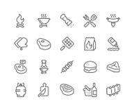 Linje grillfestsymboler stock illustrationer