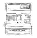 Linje gullig illustration för film för ögonblicklig kamera för tappning för konst Arkivfoton