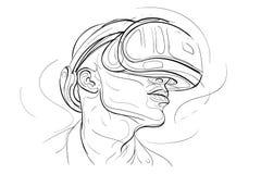 Linje hand dragen illustration för virtuell verklighethörlurar med mikrofon en Arkivfoton