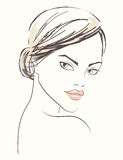 Linje illustration av en härlig kvinnaframsida royaltyfri illustrationer