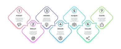 Linje infographic flöde för timelinemilstolpe för 7 moment fyrkantigt diagram, presentationsbanerbegrepp Alternativworkflow för v royaltyfri illustrationer