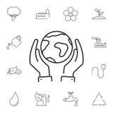 Linje jordklot och handsymbol Enkel beståndsdelillustration Line- jordklot- och handsymboldesignen från ekologisamlingsuppsättnin stock illustrationer