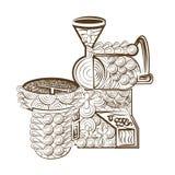 Linje kaffe för kaffebrännare för sida för konstdesignfärgläggning Royaltyfri Bild