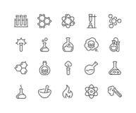 Linje kemikaliesymboler stock illustrationer