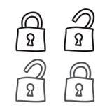Linje klottersymboler för vektor för låssymbolsuppsättning Arkivfoton