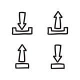 Linje klottersymboler för vektor för uppsättning för pilsymbolsuppsättning Arkivbild