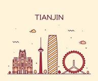 Linje konst för illustration för Tianjin horisontvektor Arkivfoto
