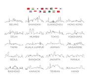 Linje konst, vektorillustrationdesign för Asien horisontstad vektor illustrationer
