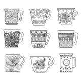 Linje konstdesign för nio tekoppar för färgläggningboken för anti-spänning, menydesignbeståndsdel eller andra garneringar Royaltyfri Fotografi