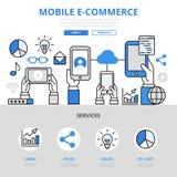 Linje konsthjälte för lägenhet för mobil e-kommers online-shoppingbegrepp vektor illustrationer