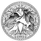 Linje konstillustration av ängelvingar med en hjärta och ett korpsvart Tappningtryck Skissa för tatueringen, den hipstert-skjorta vektor illustrationer