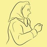 Linje konstillustration av den åldriga damen för mitt Royaltyfri Bild