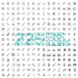 Linje konstsymbolsuppsättning 225 linjära symboler stock illustrationer