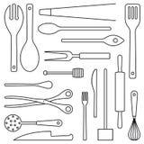 Linje konstvektor för sortiment för matlagningredskap vektor illustrationer