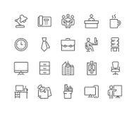 Linje kontorssymboler Arkivfoton