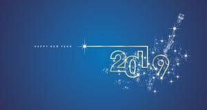 Linje kort för nytt år 2019 för hälsning för vektor för designfyrverkerichampagne guld- glänsande vitt blått royaltyfri illustrationer