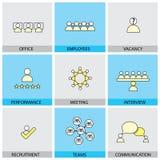 Linje lägenhetdesignsymboler - värdering, rekryt för kontorsfolkvektor stock illustrationer