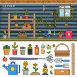 Linje lägenhetillustration för trädgårds- utrustning Arkivfoto