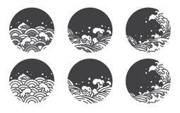 Linje logomall f?r vattenv?g japan thai royaltyfri illustrationer