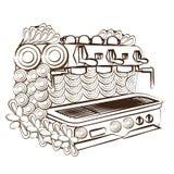 Linje maskin för kaffe för sida för konstdesignfärgläggning Royaltyfri Bild