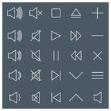 Linje massmediasymboler, vektorillustration Arkivbilder
