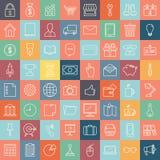 Linje mobil och rengöringsduk för symboler fastställd Arkivbild