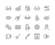 Linje Optometrysymboler royaltyfri illustrationer