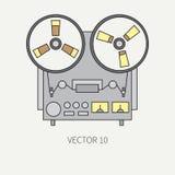 Linje plan vektorsymbol med den retro elektriska ljudsignal apparatrullbandspelaren MotsvarighetTV-sändningmusik Tecknad filmstil vektor illustrationer