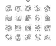 Linje raster 2x för symboler 30 för perfekt vektor för Digital ekonomi Brunn-tillverkad PIXEL tunn för rengöringsdukdiagram och A vektor illustrationer
