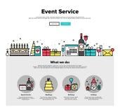 Linje rengöringsdukdiagram för tjänste- lägenhet för händelse Royaltyfria Bilder