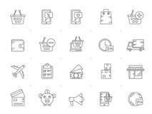 Linje shopping och e-kommers symboler stock illustrationer